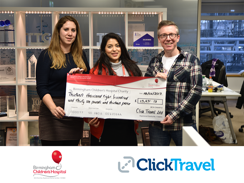 Click Travel supports local community with donation to Birmingham Children's Hospital