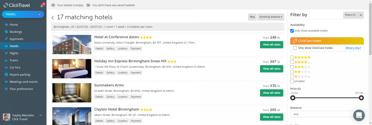 The ClickCare Hotel Filter show alongside existing filters on hotel search results page